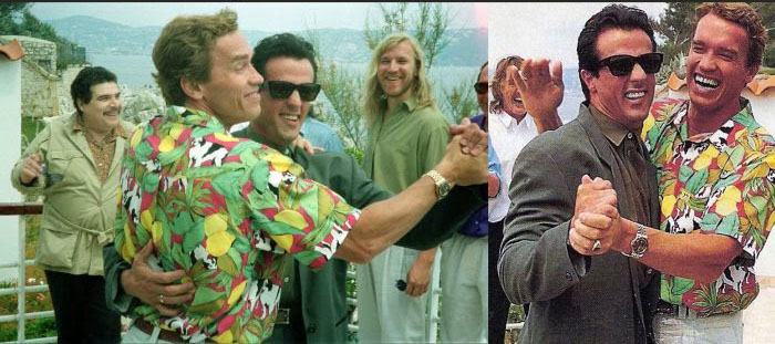 Arnold Schwarzenegger dancing with Sylvester Stallone in Cannes Film Festival, 1990