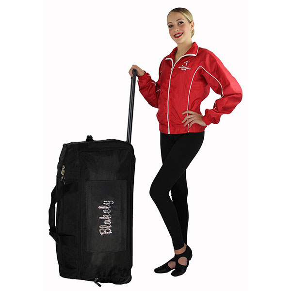 Girl standing with XXL dance bag