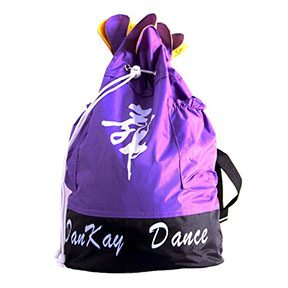 Female dance shoes bag with stripe and external pockets
