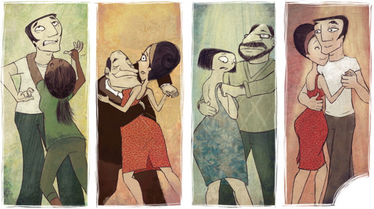 Dancing couples cartoon