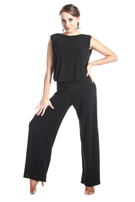 Women black shirt and pants for ballroom dancing practice