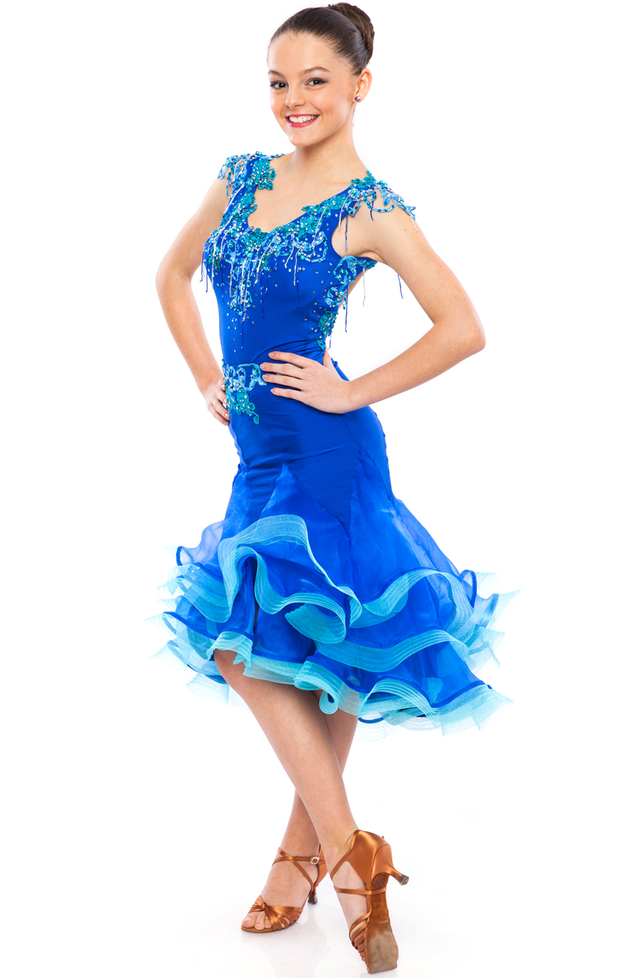 Teen Girl Blue Latin Dress