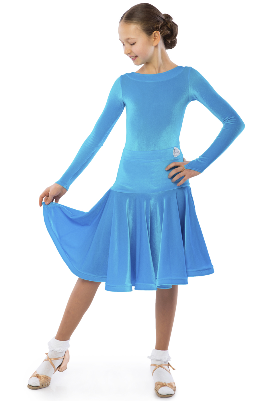 Teen Girl Blue Juvenile Practice Ballroom Dress