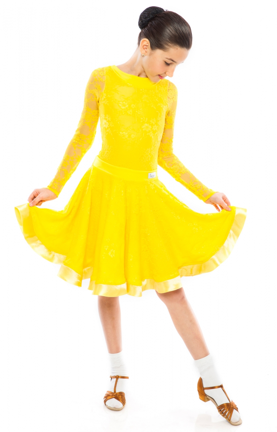 Teen Girl Juvenile Yellow Practice Ballroom Dress