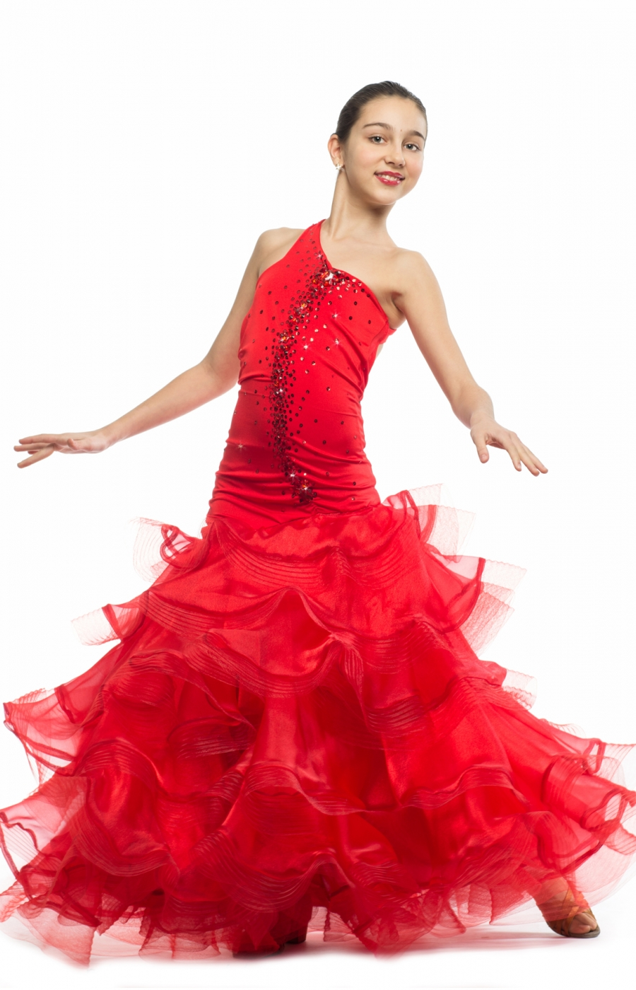Teen Girl Red Ballroom Dress Flamenco