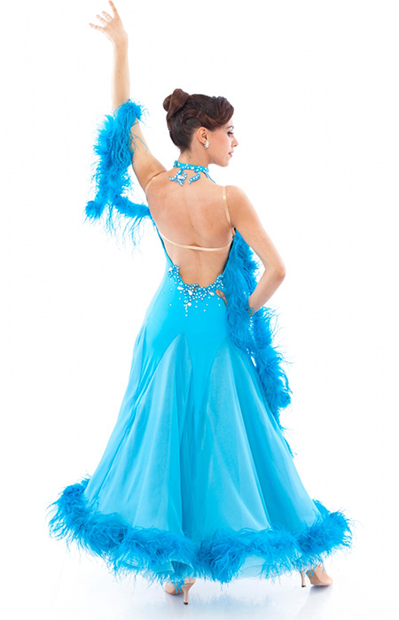Women advanced blue ballroom gown