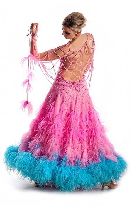 Women advanced ballroom gown with feathers