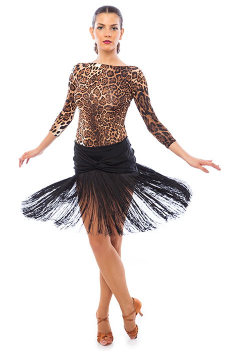 Women leopard shirt and black skirt for latin ballroom dancing