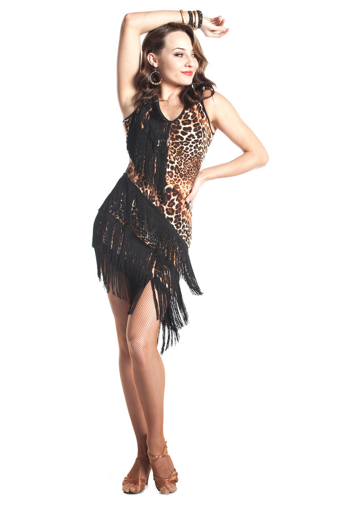 Leopard Fringe Latin Dance Dress