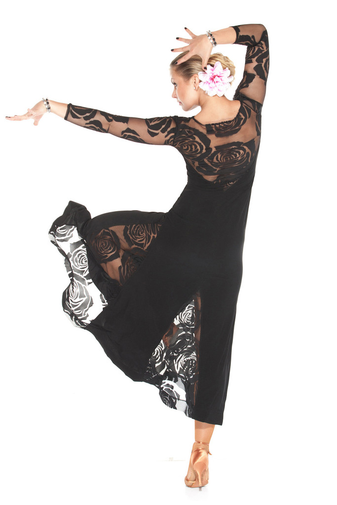 Black Transparent La Fleur Ballroom Dance Dress