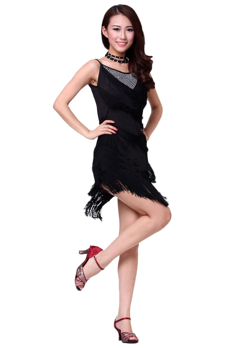 Spaghetti Straps Fringe Flapper Latin Dance Dress With Neck Strap Black