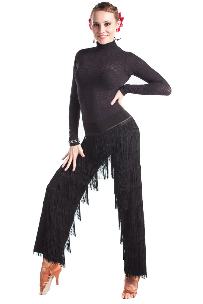 Women Black Dance Fringe Pants