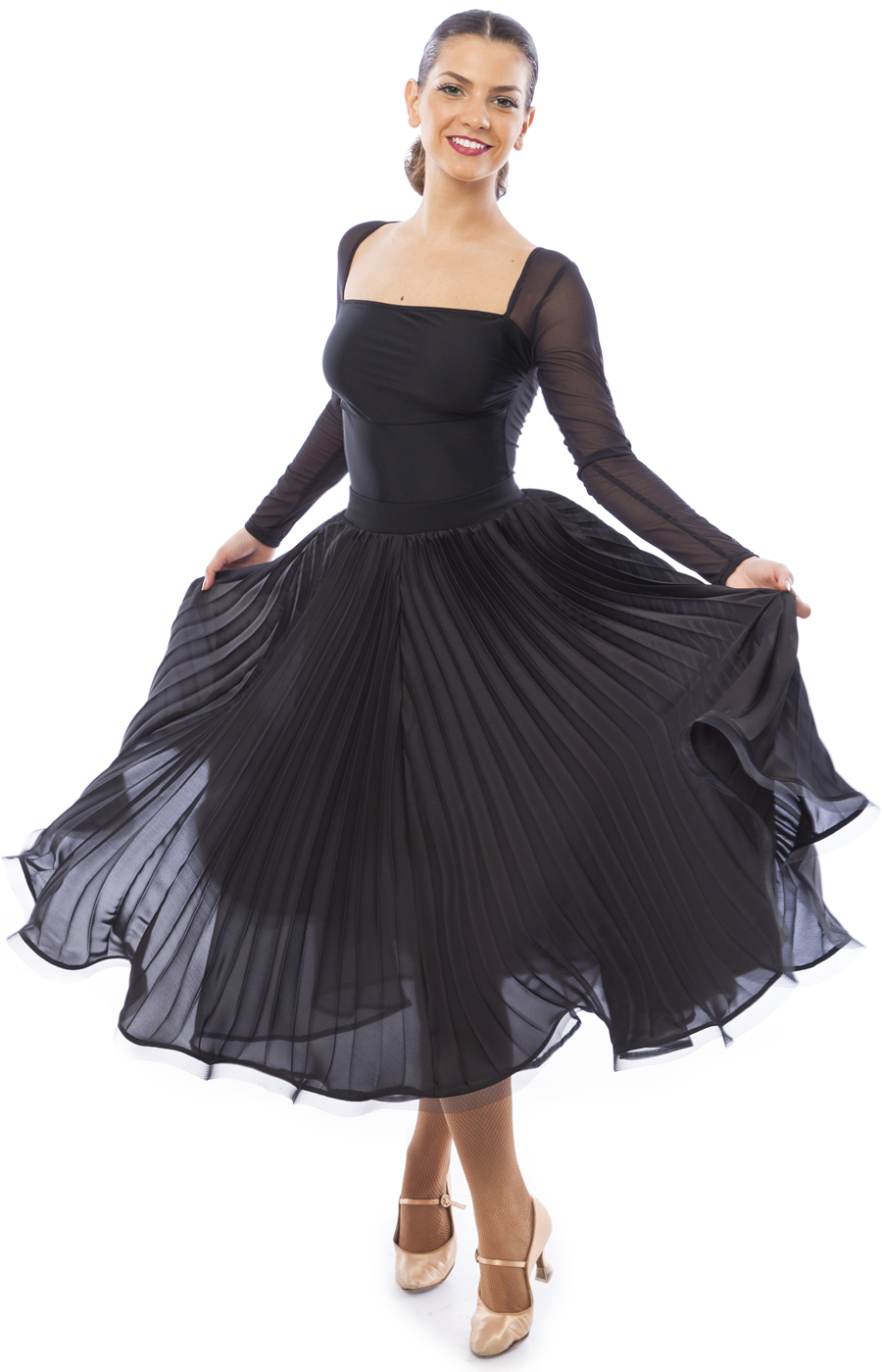 Women Black Ballroom Pleated Skirt Amelie