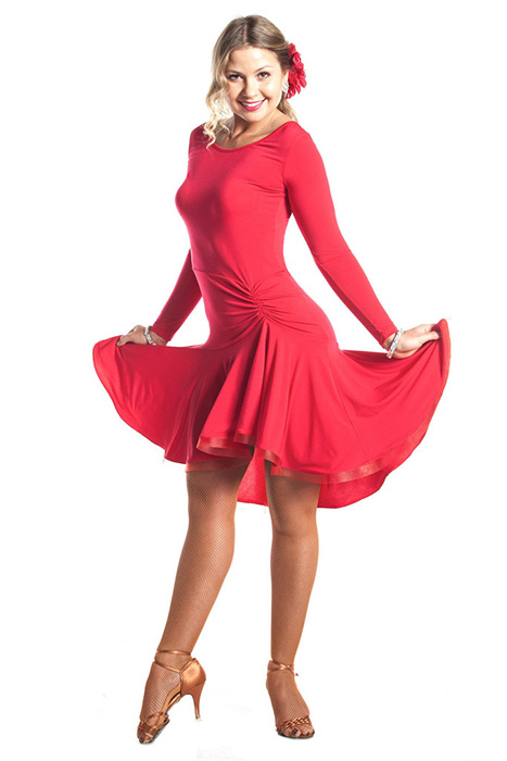 Women red short gown for latin ballroom dancing