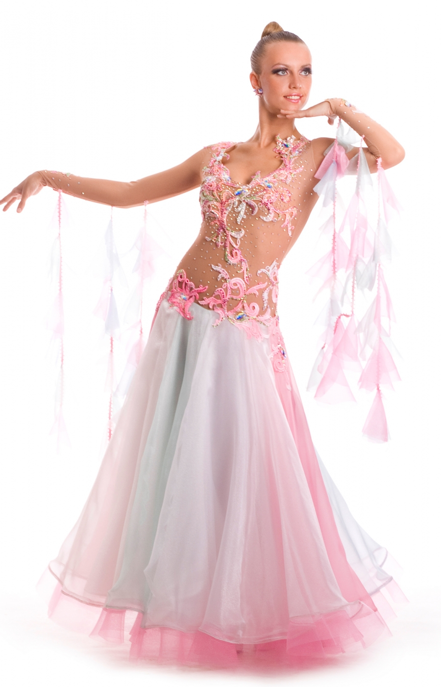 Women Ballroom Dress Mermaid Pink Transparent