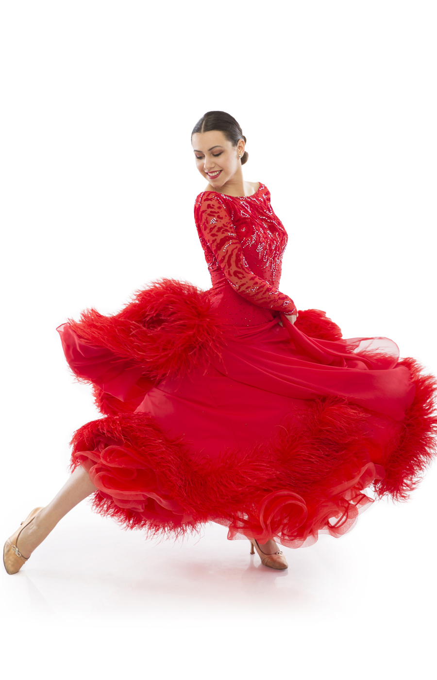 Women Red Ballroom Standard Dress