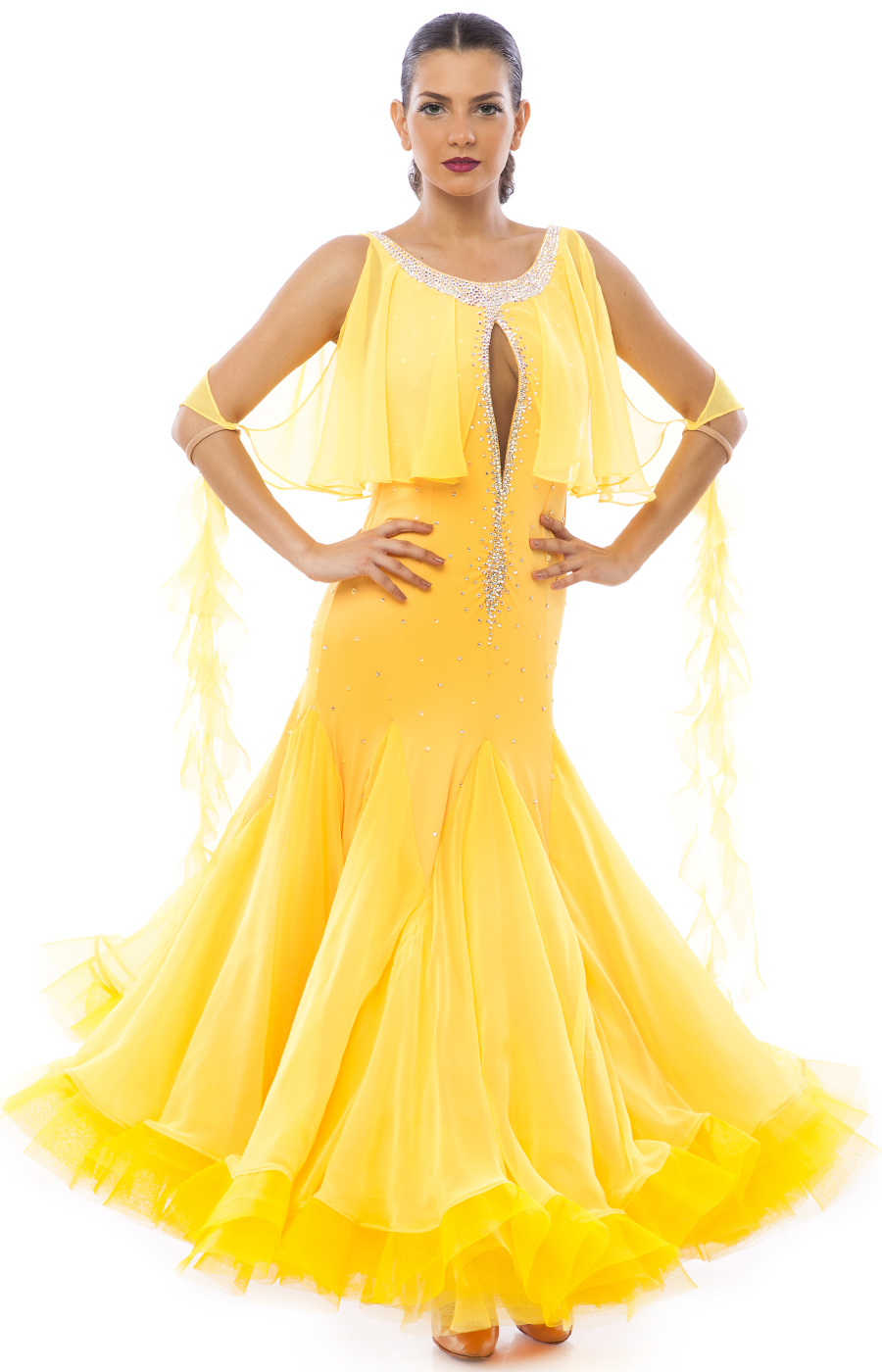 Women Yellow Standard Gown Ballroom Dancing