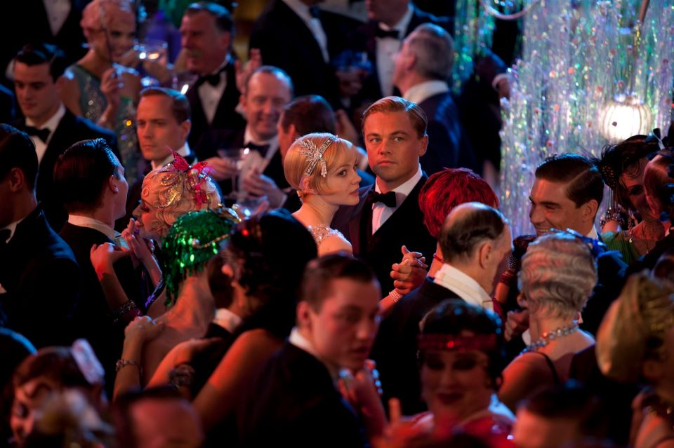 Leonardo Dicaprio at overcrowded ballroom dance hall, The Great Gatsby movie scene