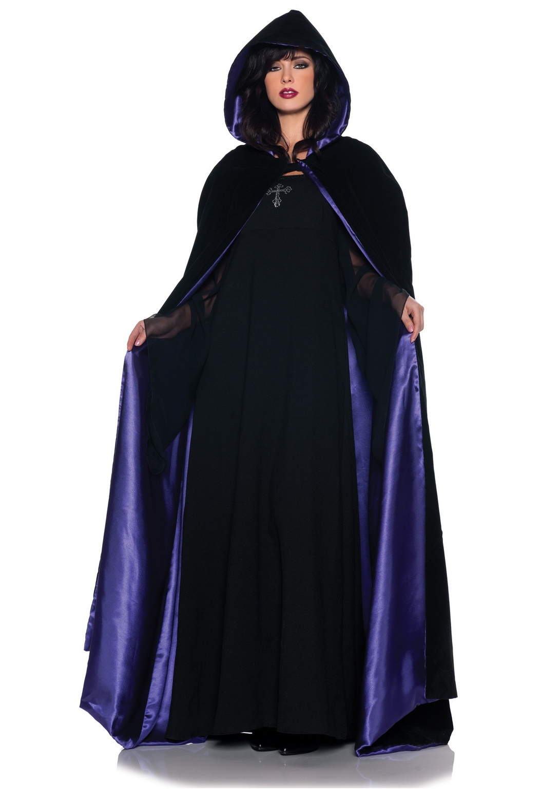 Adult Deluxe Velvet And Purple Satin Long Cape