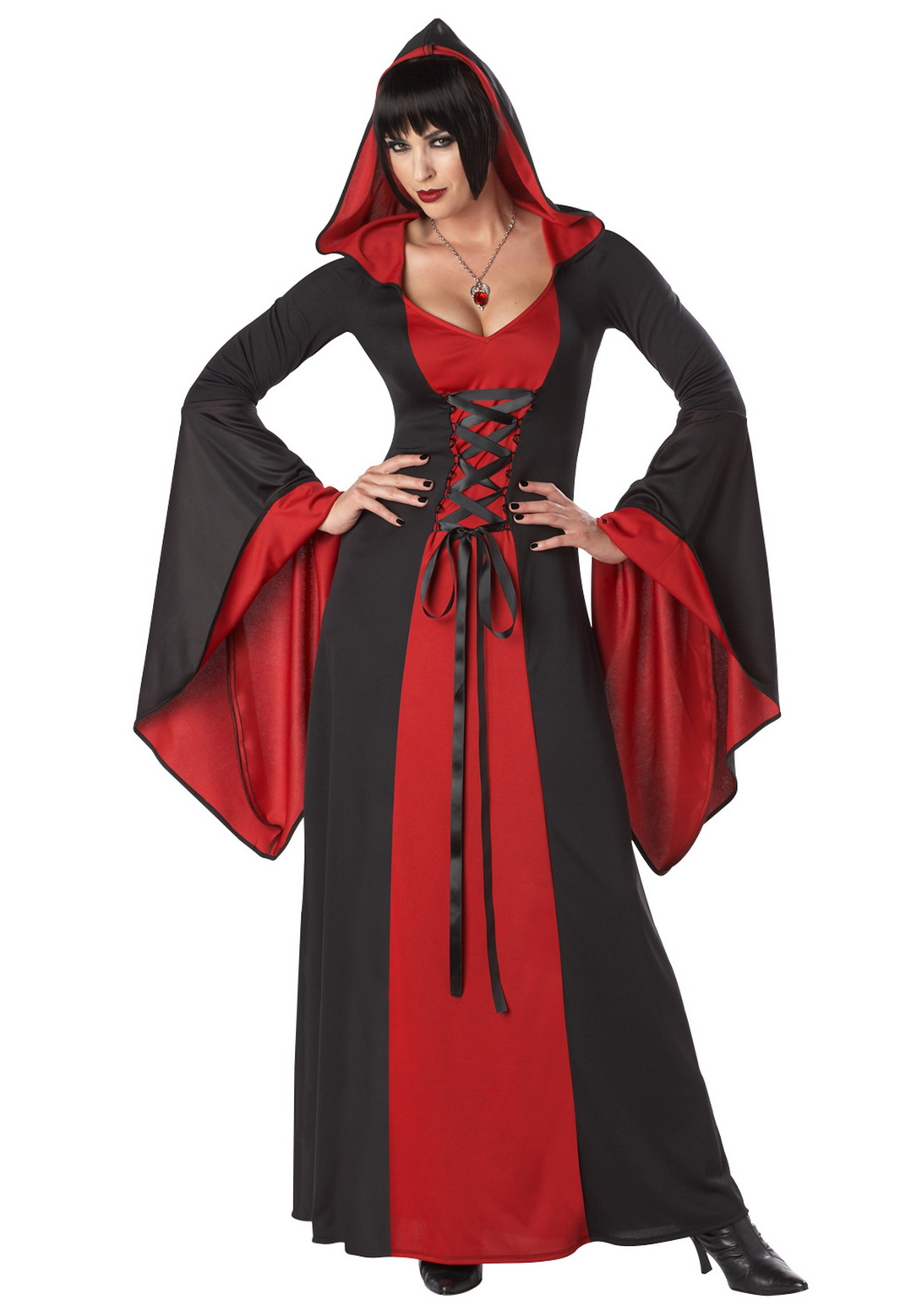 Adult Red Black Female Hooded Robe Costume
