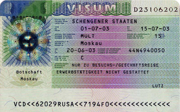 Visa in international passport