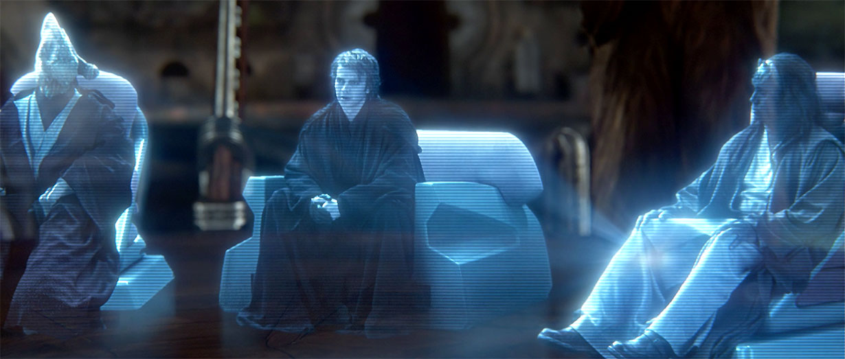 Blue holograms of Star Wars