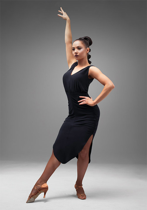 Elegant female black dress for ballroom dancing