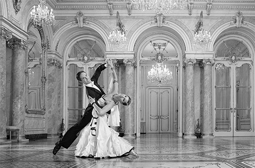 Old black and white ballroom dance