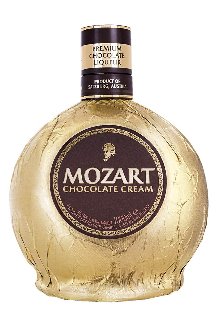 Chocolate cream liqeuer bottle with Mozart