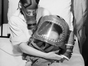 A Mother And Baby Both In Gas Masks During 1941 D3918